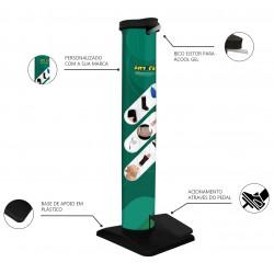 Totem Dispenser em Tubo para Álcool em Gel com Pedal